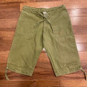 PRANA GREEN CARGO CROP PANTS